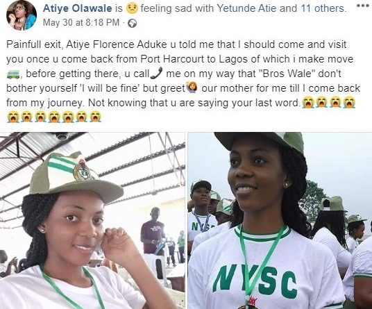 Female NYSC Corps Member slump and die in Rivers State