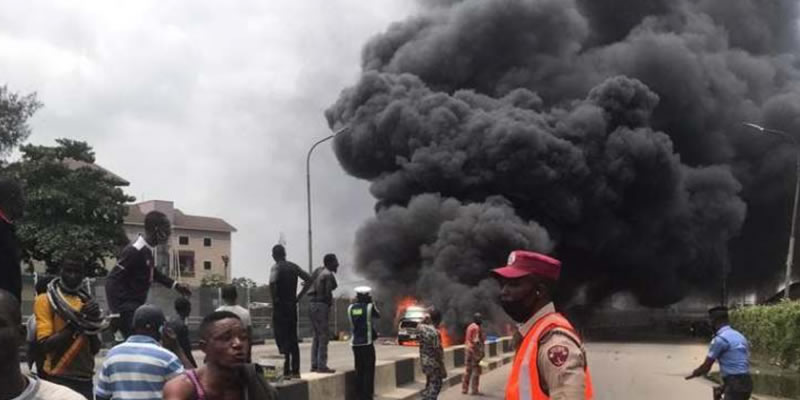 BREAKING: Fuel tanker explodes in Ibadan(Photos)